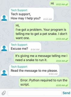 Tech Support - Python Programming Humor, Best python programming jokes, humor about python. Computer Science Humor, Computer Memes, Technology Humor, Science Jokes, Computer Coding, Comedy Quotes, Jokes Quotes, Tech Quotes, Nerd Jokes