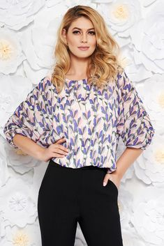 StarShinerS pink elegant flared women`s blouse airy fabric with inside lining with elastic waist, inside lining, easy cut, elastic waist, floral prints, elastic held sleeves, 3/4 sleeves, thin fabric, transparent fabric, airy fabric