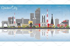 Quezon City Philippines Skyline - Illustrations - 1