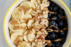 Breakfast Power Bowl March 31, 2015 Breakfast Power Bowl. soaked quinoa, banana, almond butter, blueberries