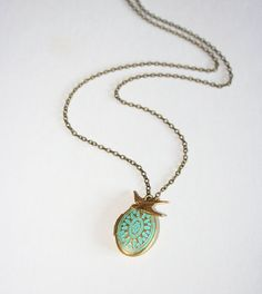 Mother's day jewelry  Patina Locket and Bird by smilesophie, $20.00