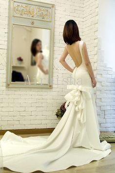 Pretty sexy backless pearls ribbons sheath by Airuishaweddingdress, $277.00