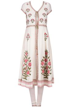 Ivory embroidered anarkali kurta set available only at Pernia's Pop Up Shop.