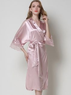This nightgown is made of polyester, it will bring you a comfortable touch feeling. V-neck and hollowed-out lace design make you elegant and charming. Pink Satin Dress, Satin Kimono, Satin Gown, Satin Dresses, Silk Satin, White Bridal Robe, Bridal Robes, Chemise Dress, Lace Nightgown
