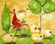 Girl Bike Ride Goose Sheep Italian Whimsical Folk Debi Hubbs Children Art