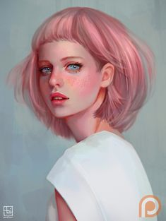 "Abigail Diaz Art - ""Portrait study. I really can't resist on painting pink hair!"""