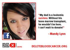 Mandy registered in honor of her father, a leukemia survivor. What inspired you to get swabbed?