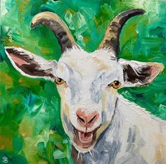 Goat portrait - Original oil painting goat decor inspired by Ireland and the farm and country culture People Art, Freelance Illustrator, Portrait, Decoration, Cotton Canvas, Goats, Artwork, Art Projects, Moose Art