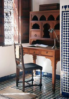 From DS - the Dar Seffarine Guesthouse of Morocco - Just look at this desk! Gorgeous! RM