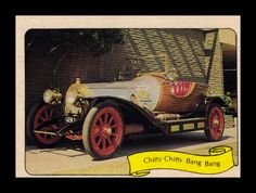 """https://flic.kr/p/9Mxxwg   Fleer """"Kustom Car"""" Sticker, 1975   """"This hand built classic was created for the movie of the same name.  The car has brass headlights, super big tires, outside exhausts coming from a Ford engine, and a wood boat tail section."""""""
