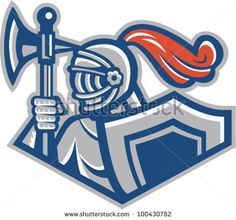 Knight With Spear Axe And Shield - stock vector #knight #retro #illustration