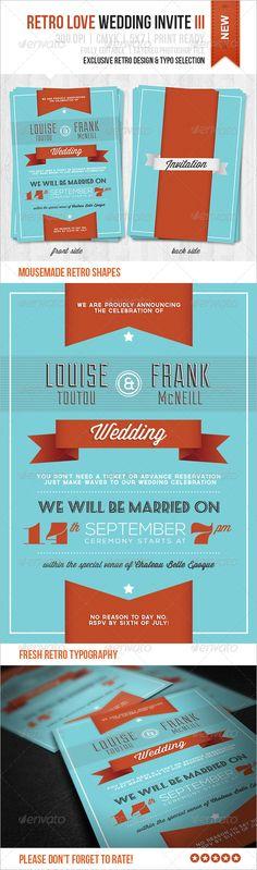 Retro Love Wedding Invite III — Photoshop PSD #party #invitation • Available here → https://graphicriver.net/item/retro-love-wedding-invite-iii/4468648?ref=pxcr