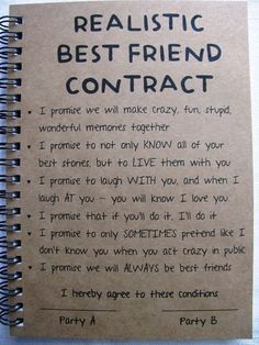 ReALiStiC Best Friend Contract 5 x 7 journal by JournalingJane: