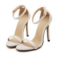 White Stiletto High Heel Ankle Strap Sandals (20.425 CLP) ❤ liked on Polyvore featuring shoes, sandals, white, peep toe sandals, ankle strap sandals, high heel sandals, stilettos shoes and ankle wrap sandals
