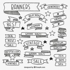 Hand Drawn Banners Free Vector