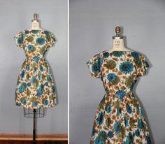 1950s dress / cotton dress / floral / by PrettyLittleWorldVtg, $118.00