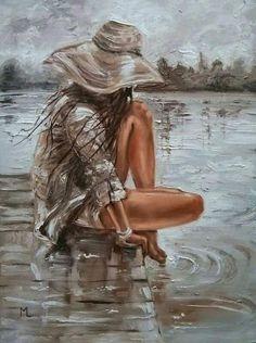 Monika Luniak - Paintings for Sale - Oil Painting Human Painting, Painting People, Painting Trees, Painting Flowers, Beautiful Paintings, Painting Inspiration, Female Art, Landscape Paintings, Watercolor Art