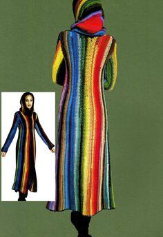 Vintage Crochet Pattern Hippie Coat Hooded by KinzieWoolShop Crochet Coat, Crochet Cardigan Pattern, Crochet Shirt, Crochet Jacket, Crochet Clothes, Vintage Crochet Patterns, Vintage Knitting, Vintage Sewing, Coat Patterns