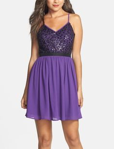 This gorgeous purple sequin bodice skater dress is perfect for dancing the night away.