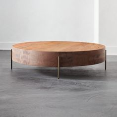Proctor Low Round Wood Coffee Table - Image 1 of 6 Wire Coffee Table, Round Wood Coffee Table, Black Coffee Tables, Outdoor Coffee Tables, Coffee Table Design, Modern Coffee Tables, Unique Coffee Table, Coffee Table Canada, Oversized Coffee Table