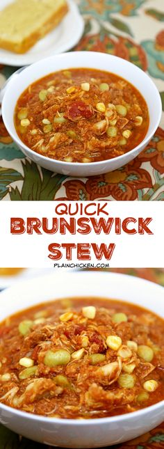 Quick Brunswick Stew - ready in 20 minutes! Pulled pork, chicken, lima beans, corn, chicken broth, BBQ sauce, tomato sauce - throw in the pot, bring to a boil and simmer for a few minutes. SO delicious! We made this two weeks in a row. We couldn't get enough of it! YUM! Can freeze for later.