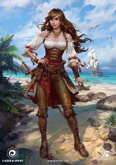 ArtStation - Female Characters for Ultimate Pirates, Grafit Studio Fantasy Girl, 3d Fantasy, Fantasy Warrior, Fantasy Women, Fantasy Artwork, Pirate Art, Pirate Woman, Pirate Life, Anime Pirate Girl