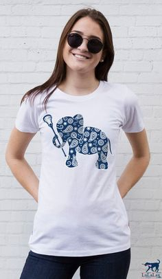 Our whimsical lacrosse elephant tee is sure to become your lax girl's new favorite tee!