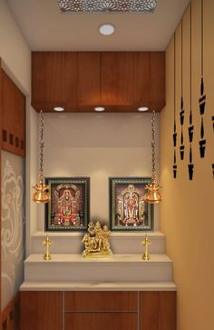 By paige interiors Pooja Room Door Design, Home Room Design, Kitchen Design, Bungalow House Design, House Front Design, Temple Room, Home Temple, Altar, Temple Design For Home