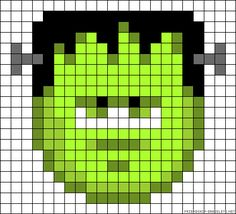 Halloween Frankenstein Cross Stitch or Perler Bead Pattern Perler Beads, Perler Bead Art, Pixel Art Templates, Perler Bead Templates, Pearler Bead Patterns, Perler Patterns, Beaded Cross Stitch, Cross Stitch Embroidery, Hama Beads Halloween