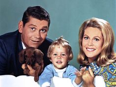 Bewitched (TV show) Dick York, Erin/Diane Murphy and Elizabeth Montgomery (from left)
