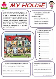 MY HOUSE - English ESL Worksheets for distance learning and physical classrooms 2nd Grade Reading Worksheets, First Grade Reading Comprehension, English Worksheets For Kids, English Lessons For Kids, Reading Comprehension Worksheets, Vocabulary Worksheets, Reading Fluency, Reading Skills, Writing Skills