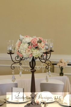 shabby chic tall centerpiece with blush and gray flowers by AntebellumDesign.com