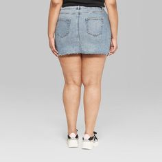 Women's Plus Size High-Rise Mini Skirt - Wild Fable™ Medium Wash Satin Midi Skirt, White Midi Dress, Pleated Skirt, Leather Mini Skirts, Denim Mini Skirt, Fall Fashion Leggings, High Waisted Denim Skirt, Levi Shorts, High Rise Jeans