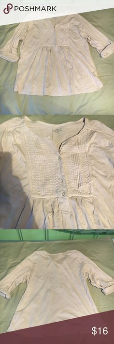 Charter Club woman 1X 3/4 sleeve top Charter Club woman, size 1X, 3/4 sleeve cream/tan top, great condition! Charter Club Tops