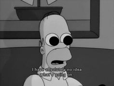 """""""I have absolutely no idea what's going on"""" — Homer Simpsons watching Twin Peaks, The Simpsons Simpsons Frases, Simpsons Quotes, Cartoon Quotes, Tv Quotes, Movie Quotes, Funny Quotes, Funny Memes, Hilarious, The Simpsons Tumblr"""