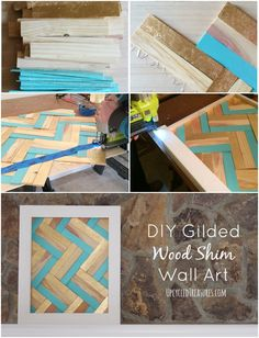 DIY Gilded Wood Shim Wall Art - How to create your own gilded art using wood shims. UpcycledTreasures.com
