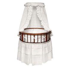 Badger Basket Cherry Elegance Round Bassinet with Bedding - White Eyelet