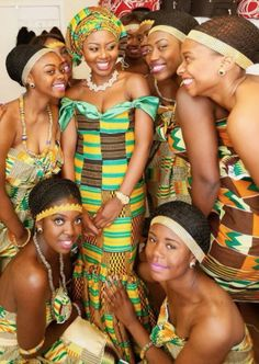 A bridal party clad in kente cloth dresses makes for a striking bunch in Ghana.