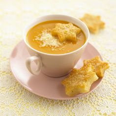 Pumpkin & Sweet Potato Soup with Cheesy Croutons