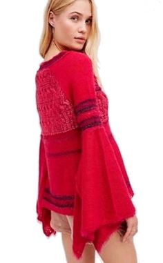 Free People Craft Time Sweater Medium 6 8 Pink Top Long Bell Sleeves UNIQUE NWT #FreePeople #KnitTop #Casual