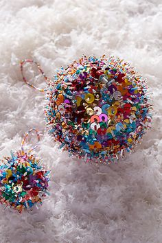 Sparked Sequin Ornament - anthropologie.eu Christmas Trimmings, Christmas Balls, Winter Christmas, Christmas Holidays, Christmas Decorations, Christmas Ornaments, Christmas Stocking, Bohemian Christmas, Colorful Christmas Tree