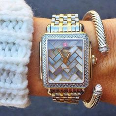 Michelle 'Deco 16 Diamond' Two-Tone Watch Case, x and the two-tone bracelet watch band- GORGEOUS Pandora, Rhinestone Jewelry, Silver Jewelry, Beautiful Watches, Diamond Are A Girls Best Friend, Mode Inspiration, Fashion Watches, Women's Fashion, Watch Bands