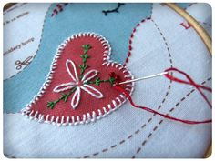 Nordic Bird Hanging Decoration being embroidered. By Wood Mouse & Bobbit