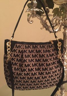 Michael Kors Jet Set MK Signature Jacquard Large Convertible Shoulder Bag  b9ebb970d2f8a