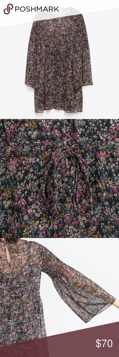 Zara floral bell sleeve dress tunic Never worn new without tags. Zara Dresses Long Sleeve