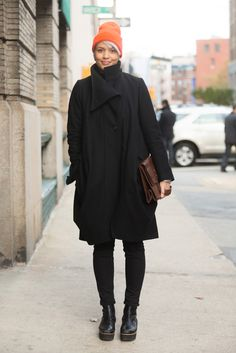 5 Types Of Black Winter Shoes You'll Want To Live In #refinery29  http://www.refinery29.com/2014/01/60969/black-shoe-street-style#slide5  Not everyone can pull of flatform boots, but she's definitely killing it.