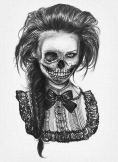 drawing Illustration creepy pencil skull bow Sketch dead skeleton evil old fashioned