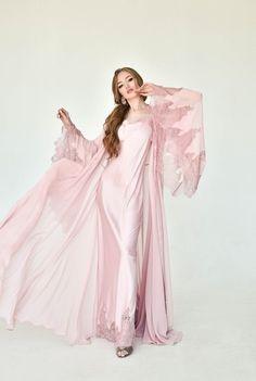 Silk Robe Long, Long Kimono, Silk Kimono, Pink Silk Robe, Blue Kimono, Silk Dress, Pyjama Satin, Satin Sleepwear, Pink Nightgown