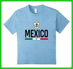 Kids Mexico Retro T-Shirt - Mexican Football Jersey  6 Baby Blue - Sports shirts (*Amazon Partner-Link)
