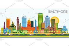 Baltimore Maryland City Skyline with Color Buildings on Blue Sky. Business Travel and Tourism Concept with Modern Architecture. Baltimore Skyline, Detroit Skyline, Baltimore City, Baltimore Maryland, Michigan City, Detroit Michigan, Black And White City, Skyline Silhouette, City Vector